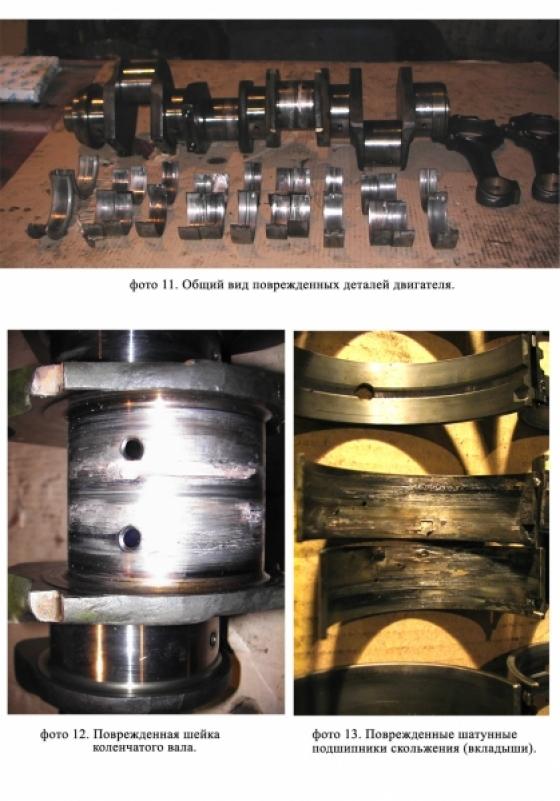Общий вид поврежденных деталей двигателя.