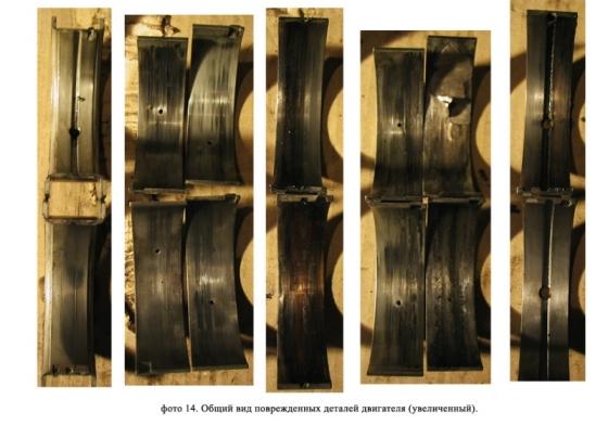Поврежденные детали двигателя.